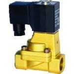 """Vana control fluide din alama apa/aer/ulei normal deschisa 1/2"""" orificiu 15 mm cu bobina si conector - 110VAC"""