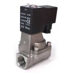 """Vana control fluide din inox apa/aer/ulei/abur normal inchisa 3/4""""  orificiu 20 mm cu bobina si conector - 110VAC"""