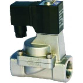 """Vana control fluide din inox apa/aer/ulei/abur normal inchisa 1/2""""  orificiu 15 mm cu bobina si conector - 24VAC"""
