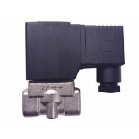 "Vana control fluide din inox apa/aer/ulei/abur normal inchisa 1/2"" cu bobina si conector - 24VDC"