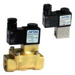 """Vana control fluide din alama apa/aer/ulei normal inchisa 3/4"""" orificiu 25 mm cu bobina si conector - 220VAC"""