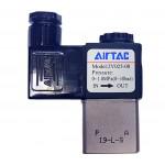 """Vana control fluide din alama apa/aer/ulei normal inchisa 1/8"""" orificiu 2,5 mm cu bobina si conector - 24VDC"""