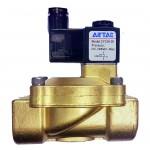 """Vana control fluide din alama apa/aer/ulei normal inchisa 3/8"""" orificiu 13 mm cu bobina si conector - 12VDC"""
