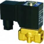 """Vana control fluide din alama apa/aer/ulei normal inchisa 1/4"""" orificiu 3 mm cu bobina si conector - 110VAC"""