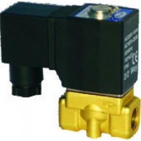 """Vana control fluide din alama apa/aer/ulei normal inchisa 1/2"""" orificiu 5 mm cu bobina si conector - 12VDC"""