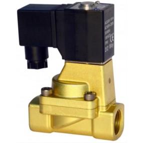 "Vana control fluide din alama apa/aer/ulei normal deschisa 3/4"" orificiu 20 mm cu bobina si conector - 24VDC"