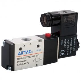 "Electrovalva 3/2 NO cu bobina si conector cu led prezenta tensiune G1/8"" - 12VDC"