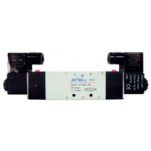 """Electrovalva bistabila 5/3 centrul inchis cu 2 bobine si 2 conectori cu led prezenta tensiune G1/4"""" - 110VAC"""