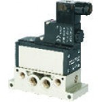 Electrovalva 5/2 monostabila ISO 5599/3 cu bobina si conector cu led prezenta tensiune - 24VDC