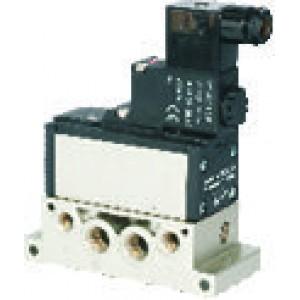 Electrovalva 5/2 ISO 5599/1 cu bobina si conector cu led prezenta tensiune - 12VDC