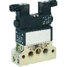 Electrovalva 5/3 centrul inchis ISO 5599/1 bistabila cu bobine si conectori cu led prezenta tensiune - 110VAC