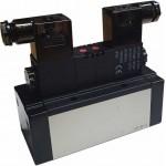 Electrovalva 5/3 centrul in presiune ISO 5599/3 bistabila cu bobine si conectori cu led prezenta tensiune - 110VAC