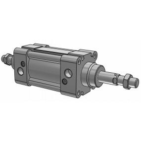 Cilindru pneumatic patrat ISO 15552 tija dubla, Piston Ø50 mm, Cursa 100 mm