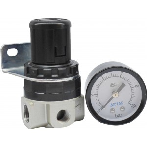 """Regulator de presiune mini cu manometru exterior 0-10 bar 1/4"""""""